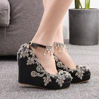 ドレスシューズ女性のウェッジハイヒールクリスタルアンクルストラップファッションABブライダルウェディングプラスサイズの母新靴