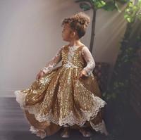 سباركلي الذهب مطرزة شير طويلة الأكمام زهرة gilr اللباس الأميرة appliqued عيد ثوب patry فتاة فساتين مهرجان المسابقة