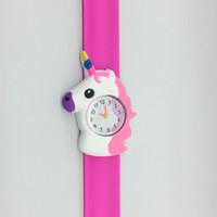 Historieta de los niños del unicornio del reloj 3D del unicornio del reloj del cuarzo de silicona banda reloj de la palmada niños de cumpleaños regalo de relojes GGA3414-3