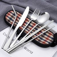7pcs / lot Ensemble de couverts en plein air avec pochette Portable baguettes en acier inoxydable cuillère couteau à fourchette Vaisselle vaisselle randonnée couverts Vaisselle FA2670