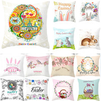 Easter Throw Pillow Case Cartoon Linen Cushion Covers Bedroo...