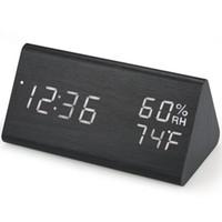 Drewniany cyfrowy budzik LED Budzik Zegar USB / Battery Zasilany Dimmer Higrometr Higrometr Zegar ze sterowaniem dźwiękiem
