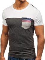 Tshirts Мода лето вокруг шеи Мужская с коротким рукавом Топы Причинная дышащий Тройники флага ленты карманный Mens