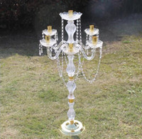 Nieuwe stijl acryl kristal bruiloft centerpiece bloem stand diameter bruiloft kroonluchter / bruiloft pijler Best0643