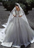 2021 Muslime Brautkleid Vintage Luxus Ballkleid Langarm Lace Afrikanische Plus Größe Perlen Strand Zuhair Murad Brautkleider