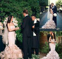 Романтическое румянское розовое длительное русалка свадебное платье 2020 милая каскадные оборками без спинки страна садовая труба свадебное платье