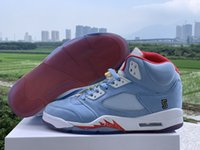 Trophy Room x 5 JSP Pack Ice Blue University Red Men Designer Scarpe sportive Ultimo jumpman 23 Mens Sneakers trainer con scatola