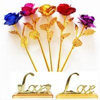 Moda Folha de Ouro Banhado Rosa Artificial Longo Haste Flower Presentes Criativos para Amante Casamento Natal Dia dos Namorados Mães Dia Decoração de Casa