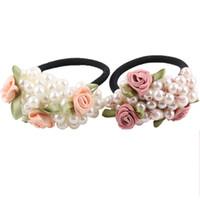 Okdeasl Fashion Women Scrunchies Flower Beaded Pearl Fascia Elastica in gomma per capelli Bands Girls Ponytail Holder Accessori per capelli