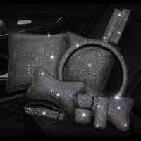 بلينغ الراين كريستال سيارة الملحقات الداخلية الماس مقود عجلة غطاء الوسائد الوسائد الخصر دعم فرملة فرملة التحول مجموعة