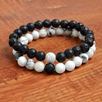 Women Men Natural Lava Rock Beads Chakra Bracelets Healing E...