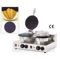 Elektrikli Ticari Gözleme Waffle Baker Makinesi Dondurma Koni Makinesi Çift Kafaları 2000 W Yapışmaz Pişirme Yüzeyi Yepyeni