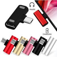 Dual USB tipo C-C para auricular Audio carga del cargador del divisor del adaptador del convertidor para Huawei Xiaomi Samsung teléfono androide