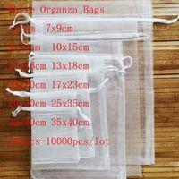Atacado 100 unidades / lote Branco cordão Organza Bagssmall bolsas Jóias Pacote Bags casamento do Natal embalagem de presente Sacos