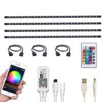 Светодиодные наборы подсветки светодиодные, Wi-Fi Smart TV Backlight совместимы с Alexa и Google Home, 6.6FT USB RGB Водонепроницаемые 4 шт. Гибкое SMD5050 Лента