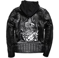 NIGHT BREAKER embroidered motorcycle leather jackets the plus size for fat man handsome male moto coat with hooded Head layer cowhide