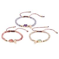 3 färger mode elegant design handgjorda kvinnors justerbara rosa lila gröna pärlor natursten charm armband