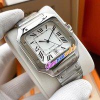 New TWF V12 WSSA0018 A23J Automatic Mens Watch Branco Dial Preto Marcadores Roman Sapphire Pulseira de aço inoxidável Timezonewatch E187a1