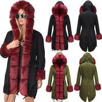 Capucha con paneles de invierno para mujer abajo de manga larga calidez vellece x-long mujer diseñador abrigos invierno ejército rojo parkas