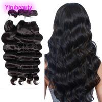 말레이시아 인간의 머리카락 확장 4 번들 느슨한 깊은 버진 머리카락 8-28inch 자연 컬러 더블 Wefts 도매 4 조각 / 많이