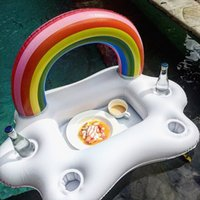 Summer pool Party Bucket Rainbow Cloud Cup Holder Inflatable...