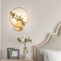 Nouvelle allée salon de style lampe de chevet chambre lampe murale chinoise cuivre pleine ronde zen chinois a conduit la lumière moderne chambre lampe chinoise