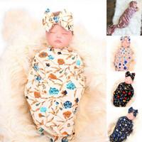 مولود جديد التفاف قمط التفاف بطانية النوم حقيبة قمط الشاش لينة الوليد بوي فتاة العصابة القوس الزهور لطيف الطفل صور الدعائم