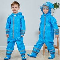 Hooded Kids Raincoat High Visibility Reflective Rainsuit Rai...