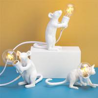 مكتب الحديثة الراتنج ماوس الجدول مصباح LED E12 ماوس الجدول مصابيح الشمال اطفال ديكور غرفة LED ليلة أضواء 110V-240V EU / AU / الولايات المتحدة / المملكة المتحدة التوصيل