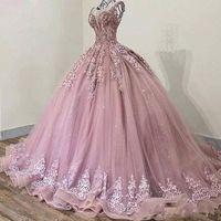 Arabisch 2020 Rosa eleganter Sheer Jewel Ausschnitt Abendkleid Ballkleid SpitzeAppliques Perlen Sweep Zug Weinlese-Abschlussball-formalen Partei-Kleider