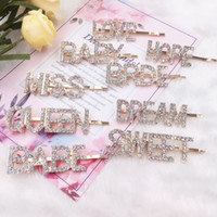 Gold Crystal Rhinestone Letter Hair Clips Girl Hairpin Bling...