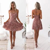 2020 Seksi Çiçek Mezuniyet Elbiseleri Yeni A-Line Tozlu Pembe Spagetti sapanlar Dantel Aplikler Kokteyl Elbise Bling Mezuniyet Abiye BC0121