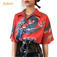 Women Tops Harajuku Women' s Blouse Dragon Print Short S...
