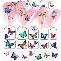 Nail Art Stickers colorata farfalla 3d adesivo decalcomanie di disegno DIY del manicure Sliders avvolge Fogli decorazioni per i chiodi LA1787