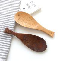 Kleine Holzlöffel Fischförmiger Log Löffel Japanische Holzessgeschirr Handgeschnitzte kleinen Holzlöffel Mode Kreative Küche Werkzeuge TLZYQ1119