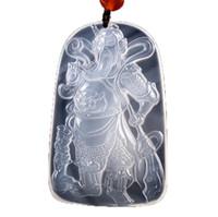 Fine Jewelry Natural Ágata Branco Colar de Pingente de Pedra Guan Gong Homens Moda Hoker Colar Pingente Frete Grátis