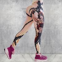Mulheres frete grátis Nova impressão digital guerreiro heroína sweatpants yoga pants leggings de fitness 0255