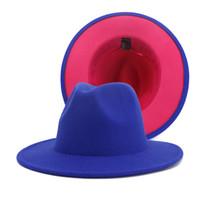 패션 챙이 넓은 파나마 재즈 페도라 모자 펠트 밴드 Patchwok 모자와 핫 핑크 바닥 모직 모자 남성 여성과 블루를 양면
