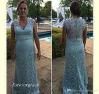 2019 vintage luce cielo blu pizzo lungo madre della sposa abiti vestiti formale madrina formale indossare sera festa di nozze ospiti vestito più dimensioni