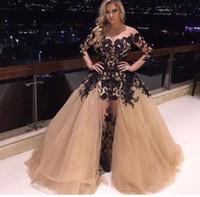 DuBai Designers Vente en gros classique noir élégante jupe amovible robe de soirée avec Applique Champagne hors épaule robe de bal
