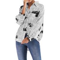 Moda jornal impresso Mulheres blusa solta Turn Down Collar manga comprida Blusas Tops selvagens Camisas Casual Blusa Drop Shipping