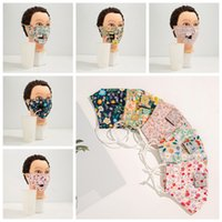 5styles 3layers straw mouth cotton mask washable ear-hanging dustproof mask floral prinbted can be drinking with straw mask FFA4194