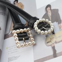 2020 Роскошные Ремни дизайнерские Ремни для женщин площади Круг пряжки инкрустированные Pearl украшения пояса падения груза 100см Длина