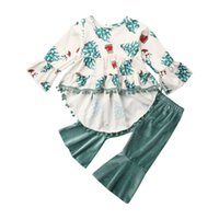 Christmas Baby Girls Cothes Xmas Tree Tassel Flare Sleeve Tops Dress Flares Pants Xmas Outfits Set Costume For 6M-4T