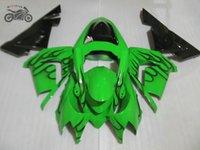 kits carénage aftermarket libre sur mesure pour Kawasaki Ninja ZX10R 2004 2005 flammes noires noir carénages kits ZX10R 04 05 ZX 10R 04-05