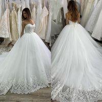 2020 Weinlese-Ballkleid-Hochzeitskleider Prinzessin SpitzeAppliques Schatz Korsett Luxuxbraut Kleid-Brautkleider Vestido De Noiva