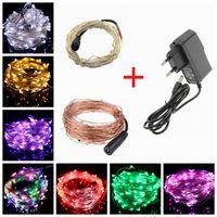 Yeni LED String Işık 10m 12V Güç Adaptörü Noel Düğün Dekorasyon Işıklar ABD UK AB AU Tak Gümüş Bakır Tel Peri ışıkları 100leds