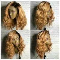 Top Quality Body Wave Ombre Black To Blonde Synthetic Lace F...