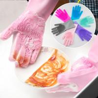 Guantes Guante de silicona cepillo de lavado Resuable hogar depurador anti escalda para lavar vajilla para la cocina Baño de limpieza