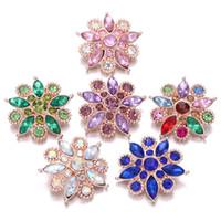 NOOSA Snap Button gioielli in oro rosa Fiore 18mm metallo bottoni a pressione a scatto braccialetto collana per i monili delle donne